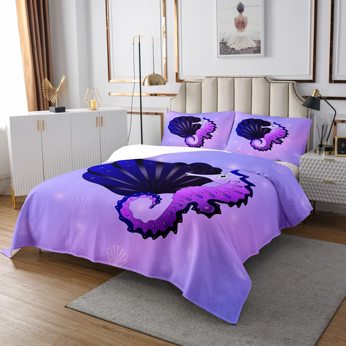 Cartoon Seahorse Bedspread Seashell Quilted Kids security Bo Coverlet for Max 51% OFF