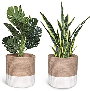 Smoofy 2 PCS Modern Woven Basket, Cotton Rope Plant Basket for 10 Inch Flower Pot Floor Indoor Planters, Storage Organizer Rustic Home Decor, White Beige Stripes, 11 Inch x 11 Inch(No Plant)