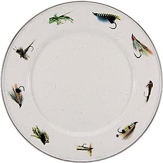 Enamelware - Fishing Fly Pattern - 10.5 Inch Dinner Plate