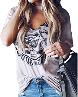 S-Fly Women Choker V Neck Casual Summer Printed Short Sleeve T-Shirts Top Blouse