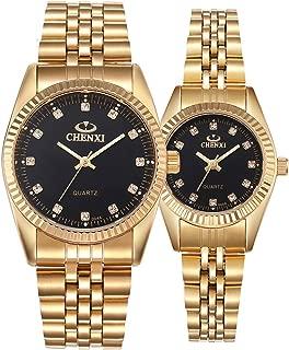 Couple Watches Swiss Brand Golden Watch Men Women Stainless Steel Waterproof Quartz Watch Gift Set