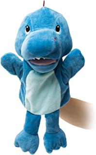HollyHOME Hand Puppets Dinosaur Plush Hand Puppets Zoo Animal Puppets Hand Animal Toys 14 Inches Blue