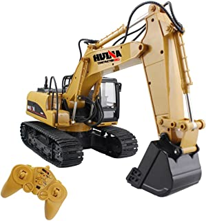 RC Truck Remote Control Excavator Crawler Tractor 15 Channel 2.4G Construction Vehicle Digger Electronics Hobby Toys with Simulation Sound and Flashing Lights