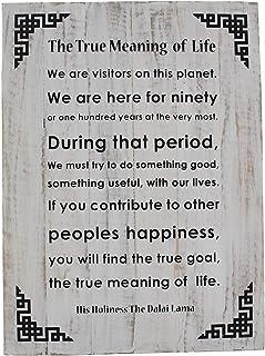 DharmaObjects Dalai Lama Quotes ~ Natural Wooden ~ A Precious Human Life ~ Inspirational Message Wall Decor Hanging The Tr...