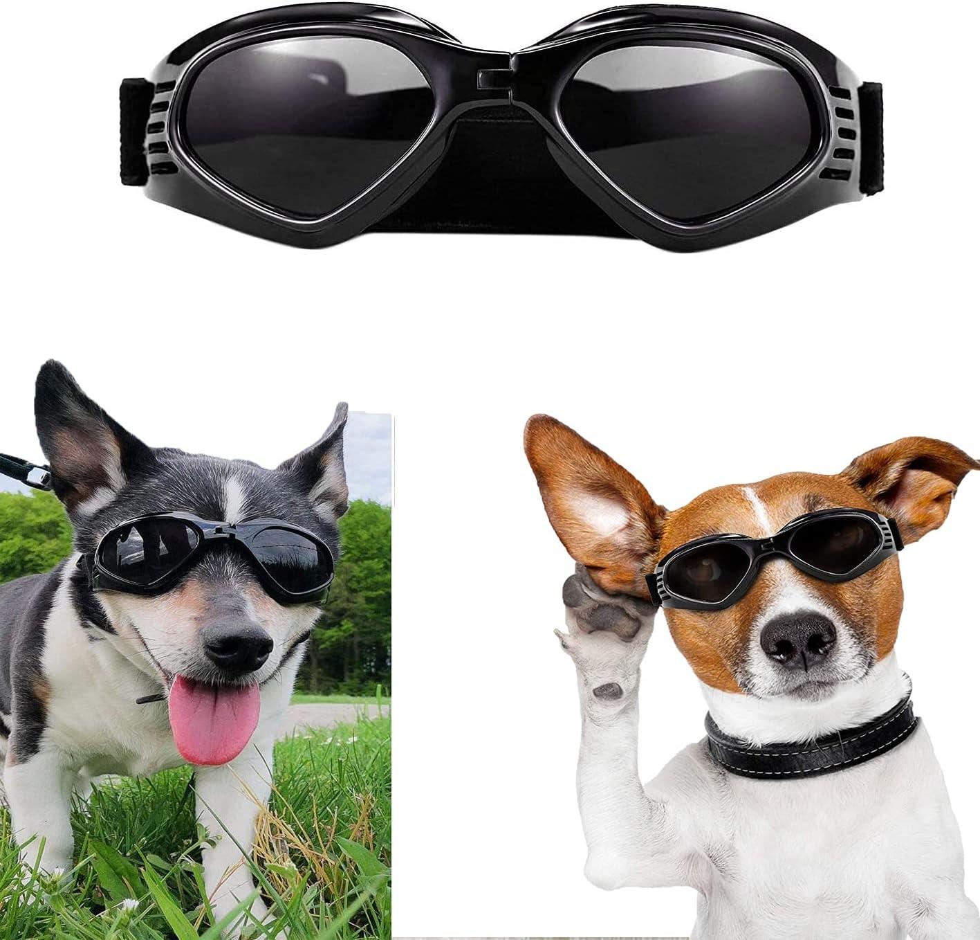 Gafas de Sol para Perros,Gafas de Perro Mascotas,Ajustables para Gafas Perros, Gafas Perros Protección UV con Protección Impermeables para Perros pequeños y medianos-Negro