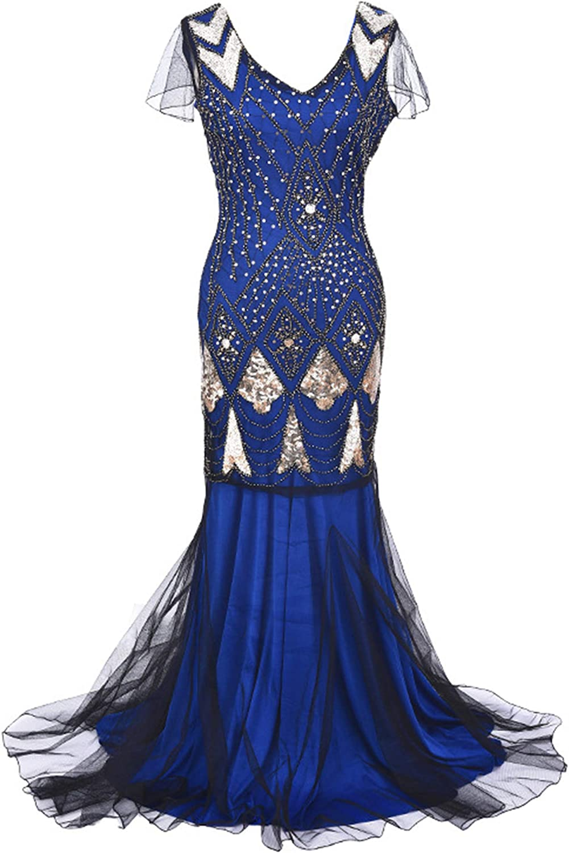 Andongnywell Women 's 1920s Sequin Dress V Neck Beaded Gatsby Dress Mermaid Art Deco Dresses Flapper Long Evening Gown