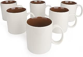Panbado 6 x Tazas de Café/Té de Porcelana de Blanca y Marrón Tazas de Cerámica, 450 ml (9 * 13,5 * 10,5 cm), Vajilla de Agua/Leche para Hogar, Oficina, Fiesta, Regalo para Cumpleaños, Festival