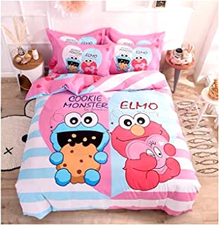 Peachy Baby Featuring Sesame Street Bedding Sheet Set Queen Twin Double Full Size 【Free Express Shipping】 【100% Cotton】 Elmo Cookie Monster Pink 3 or 4 Pieces (Single/Twin Size (with Flat Sheet))
