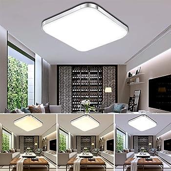 ETiME® 10W LED Deckenleuchte Dimmbar Deckenlampe Modern Wohnzimmer Lampe  Schlafzimmer Küche Panel Leuchte 10-10K mit Fernbedienung Silber  (10x10cm