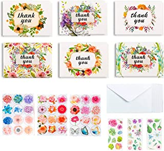 Thank You Cards, 36 Bulk Floral Thank You Greeting Cards with 36 White Envelopes 6 Bonus Stickers By Feela, Perfect for Baby Bridal Shower Wedding Graduation Anniversary Kids Parents Coworkers