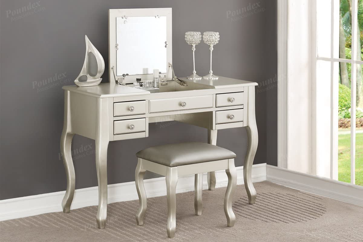 Poundex F4145 Bobkona Cailyn Flip Up vanity Set with Cheap mail order specialty store Max 41% OFF Mirror Stoo