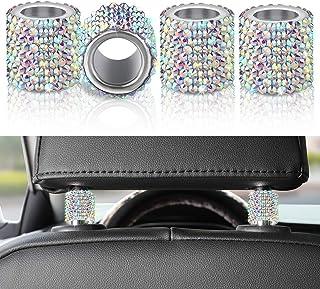 OTOSTAR 4 Pack Bling Car Headrest Collars Rings, Sparkling Crystal Diamond Interior Decor Car Seat Head Rest Collars for C...