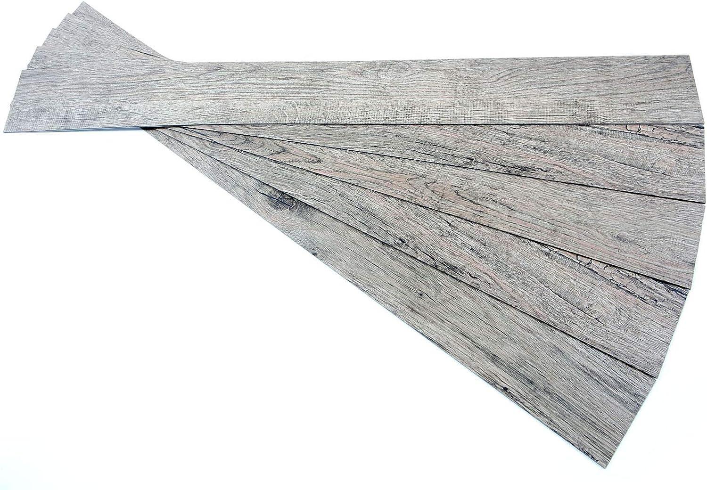ROSEROSA Peel and Stick Engineered PVC Plank Wood Pattern Durable Vinyl Flooring (ECK-801 : 5 Planks)