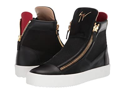 Giuseppe Zanotti Zipper High Top Sneaker (Black/Red) Men