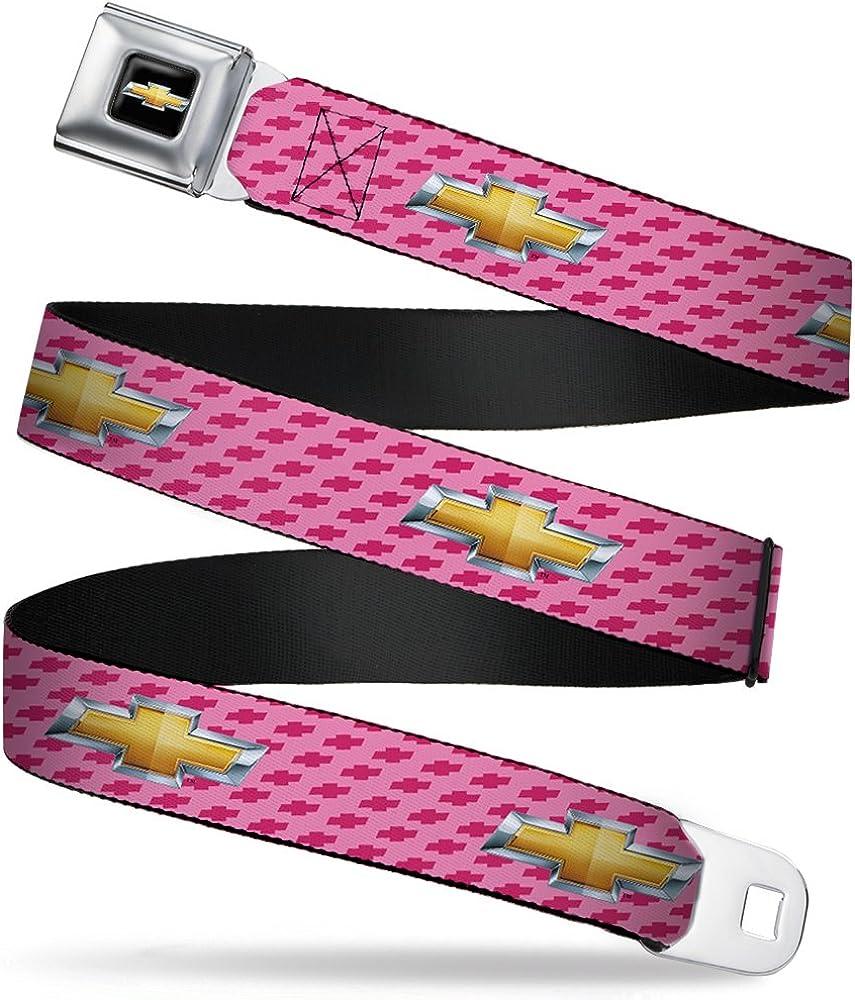 Buckle-Down Seatbelt Belt - Chevy Gold Bowtie w/Logo PINK - 1.0