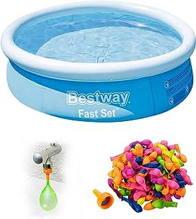 Shopping Hero Quick Up Pool Set I Aufpool redonda, Planschbecken Bestway Fast Set Ø183 x 51 cm I estable pared exterior I Bodenventil para rápido vaciado I incluida 100 selbstschließende Wasserbomben