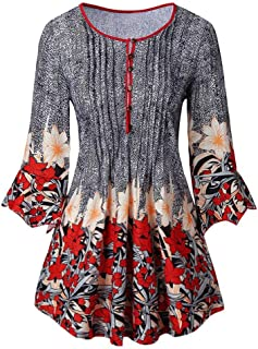 iYBWZH Women's Long Sleeve T-Shirt Casual Top Fashion Pullover Fashion Vintage Print Patchwork Blouse Tunic