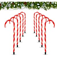 Deals on 10-Pack Zhupig Christmas Candy Cane Pathway Lights