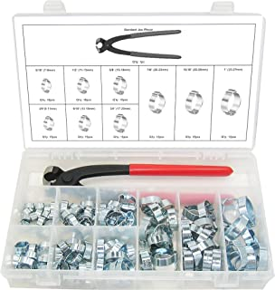 Swordfish 30310-2 Ear Hose Clamp and Standard Jaw Pincer Assortment Kit, 124 Pieces, 9 Sizes Ear Clamps from 5/16