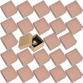 ルボナリエ ラッピング 箱 ギフトボックス アクセサリーボックス 纸箱 リボンタイ アクセサリー ボックス ピアス 紙箱 ギフト 指輪 (ブラウン 5×5×3㎝ 24個)