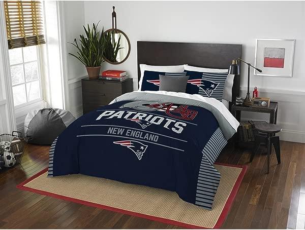 New England Patriots Comforter Set Bedding Shams NFL 3 Piece Full Queen Size 1 Comforter 2 Shams Football Linen Applique Bedroom Decor Imported