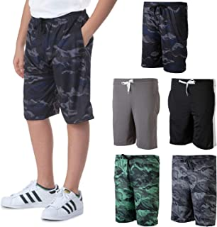 Real Essentials 5 Pack: Boys Girls Youth Teen Printed Camo Dry-Fit Sport Active Athletic Shorts