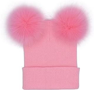 Skuleer - Autumn Women Faux Fur Pompom Hat Female Winter Warm Cap Knitted Beanie Girl Double Ball Pom Pom Hats Woman Bonnet Femme [Pink]
