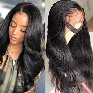 Body Wave Lace Front Human Hair Wigs For Women 150% Density Pre Plucked Hairline With Baby Hair 8-26Inch Peruvian Remy Hair Bleached (20 inch, body wave natural)