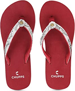 CHUPPS Women's Glitter Pink/Silver Flip Flops-5 (10050-225)