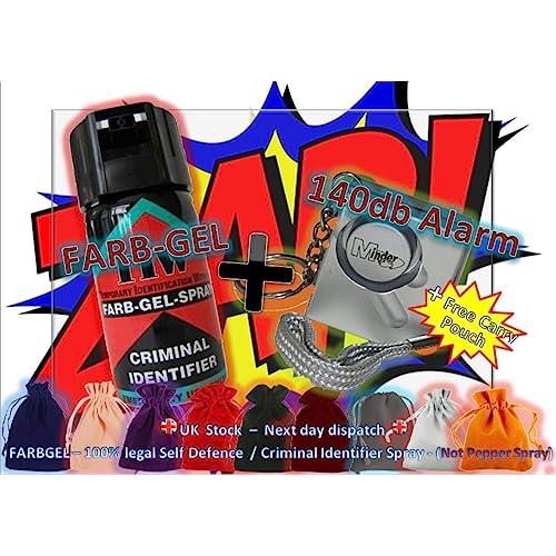 FARBGEL + Attack Alarm (100% LEGAL - Criminal Identifying Spray + 140Db Mini Minder)