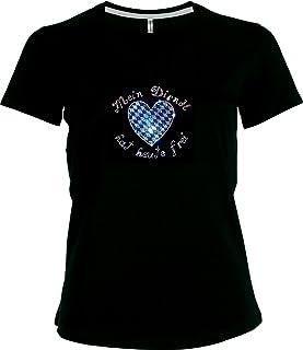BlingelingShirts Elegantes Shirt Oktoberfest Damen T-Shirt Wiesn Mein Dirndl hat Heute frei mit Bayernherz Strass V-Ausschnitt