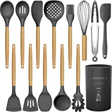 14 Pcs Silicone Cooking Utensils Kitchen Utensil Set - 446°F Heat Resistant,Turner Tongs,Spatula,Spoon,Brush,Whisk. Wooden...