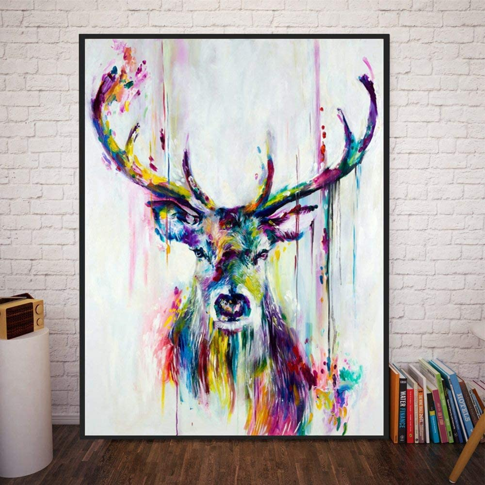 Amazon Com Mox Wallart Art Colorful Deer Abstract Oil Paintings Printed On Canvas Modern Canvas Wall Art Contemporary Artwork For Home Living Room Office Hotel Wall Decorations Home Decor 8x12inch With Frame Posters