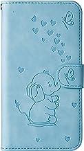 Ailisi Funda Samsung Galaxy A50/A30S/A50S, Elefante de Dibujos Animados Carcasa Protectora de Cuero PU con Cierre magnético, Función de Soporte, Ranuras para Tarjetas, Billetera Flip Caso -Azul
