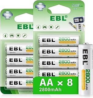 EBL 単三電池 8本入り 大容量充電池 2800mAh 単3充電池 ニッケル水素単3形充電式電池 約1200回繰り返し電池充電 ブリスター 電池 充電 単3 防災電池