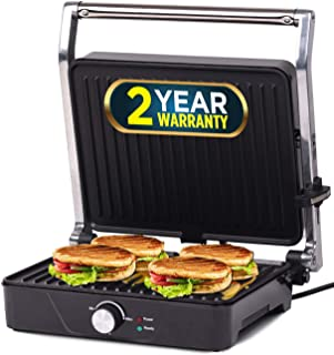 IBELL SM201G 2000-Watt Sandwich Maker, Silver