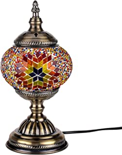 Kindgoo Turkish Mosaic Lamp Decorative Handmade Unique Glass Bedside Table Lamp Led Bulb Included (Red)