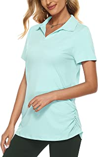 KORALHY Womens Short Sleeve Golf Polo Shirts Quick Dry, UPF 50, Pleated