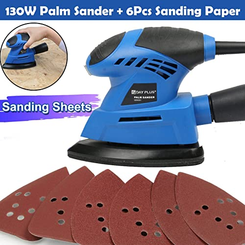 lowest Detail Sander Mouse Palm Sander 2021 12000RPM 130W with 6Pc Sandpaper 2M high quality Cord Dust Collection System for Sanding Polishing Tight Small Area on Wood Metal Furniture outlet sale