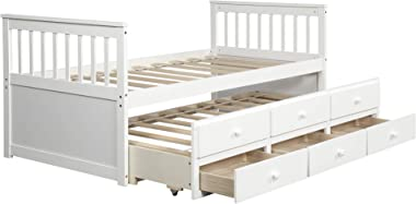 Storage Twin Daybed with Trundle and 3 Storage Drawers Wood Platform Captain Bed Frame with Headboard Footboard, White