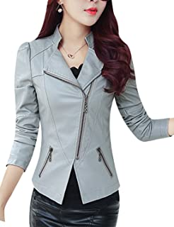 Tanming Women's Classic Asymmetrical Zip Faux Leather Moto Biker Jacket