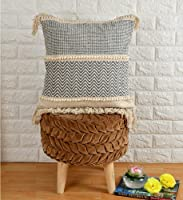 pepme Cotton Tufted Pillow Cushion Cover Zigzag boondi lace Pattern for Living Room, Sofa, Chair (18x18, Blue, Off-White)