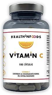 Vitamina C Altamente Concentrada-Healthinfoods -1200mg por Dosis Diaria-180 cápsulas-100% Vegana -Refuerza el Sistema Inmunológico y Reduce el Cansancio-Fabricada en España- GMP- 60 a 180 días