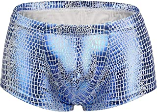 Howely Men Polyester Snake Print New Liquid Slim Sexy Low-Waist Boxer Brief