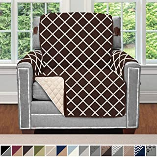 Sofa Shield Original Patent Pending Reversible Chair Slipcover, 2 Inch Strap Hook, Seat Width Up to 23 Inch Machine Washable Furniture Protector, Slip Cover for Pets, Chair, Diamond Chocolate Beige