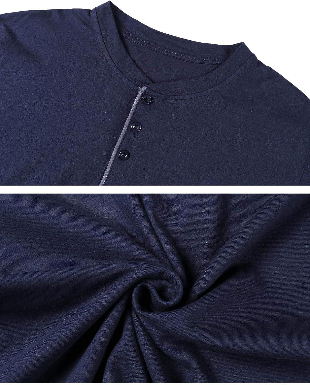 Abollria Mens Pajama Set Cotton Long-Sleeve Henley Top Pants Pjs Sleepwear