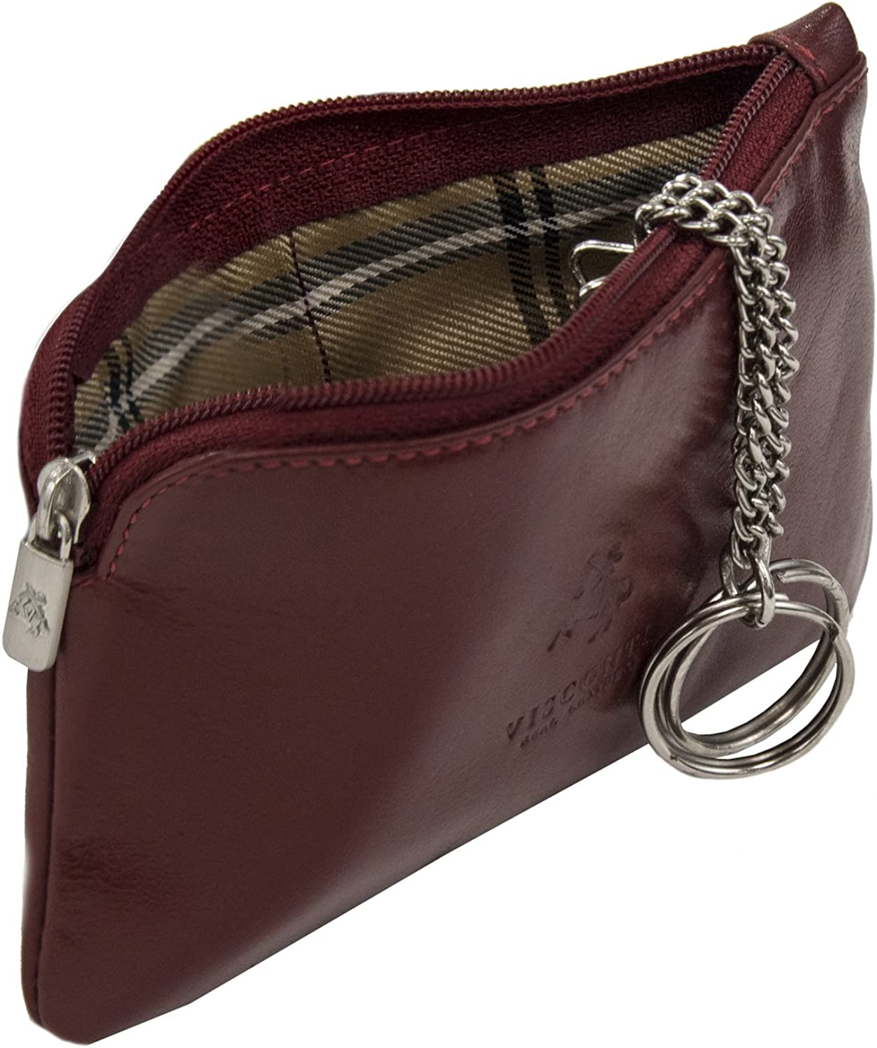 Visconti Monza 19 Leather Key Ring Zippered Coin Pouch Purse