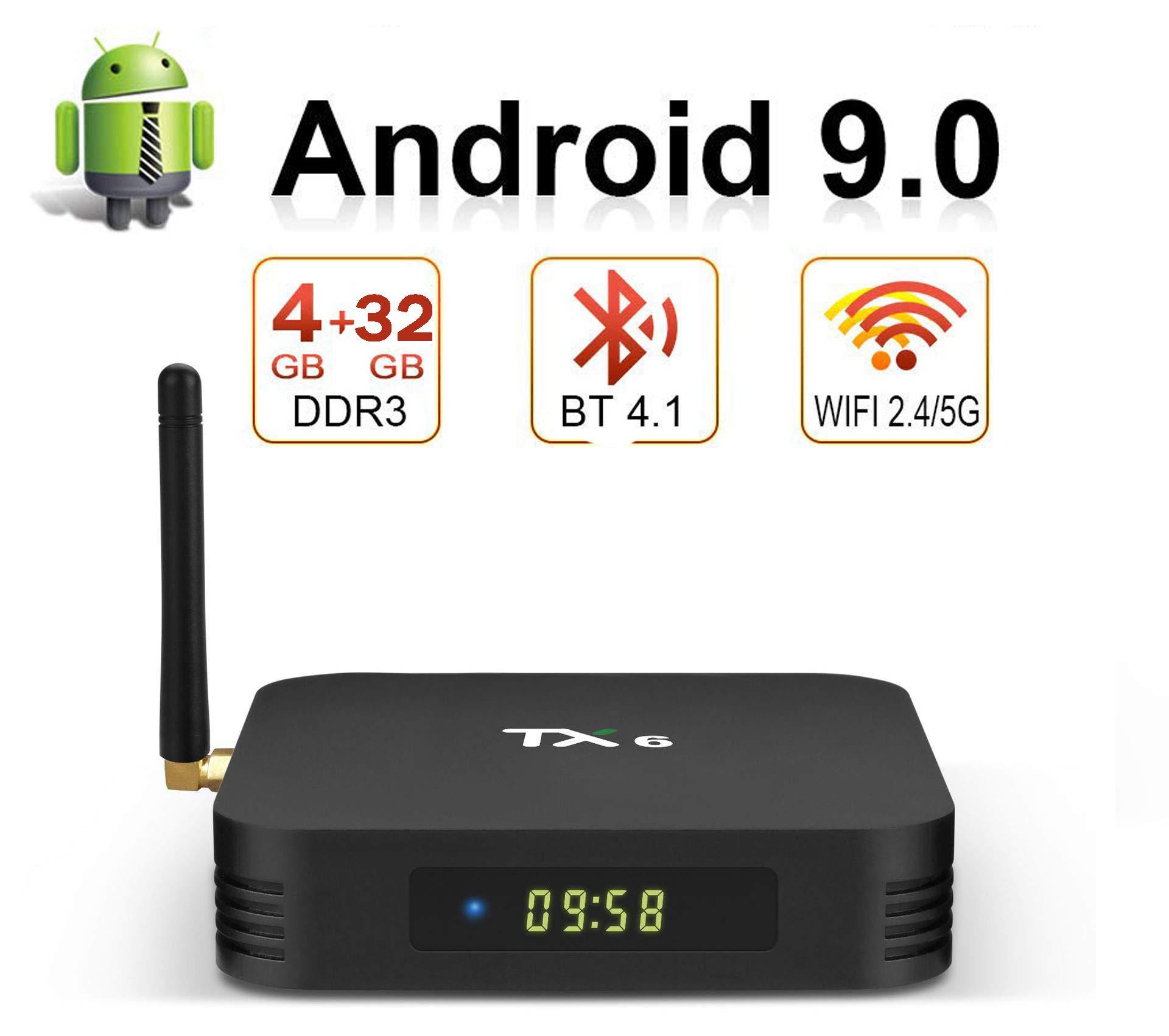 Bqeel Android 9.0TV Box B1 MAX, 4G RAM 64G Emmc, CPU H6 64-bit, Wi-FI 2.4G / 5G 100M LAN, USB 3.0 / HDMI2.1 / SPDIF, H.265 4K Smart TV Box Android,4gb+32gb: Amazon.es: