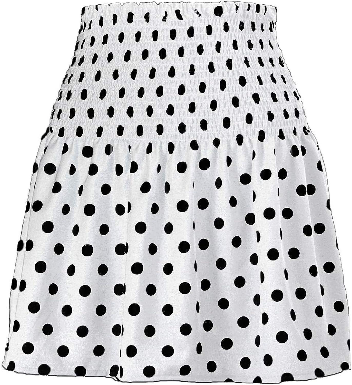Kirnapci Womens Casual Summer Skirts A-Line High Waist Ruched Polka Dot Mini Skirt