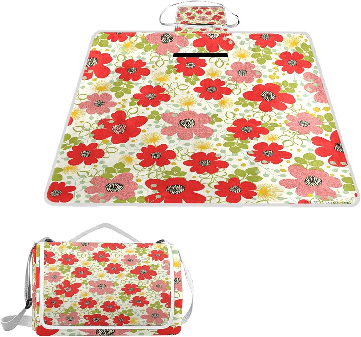 MASSIKOA Flowers Picnic Blanket Waterproof Outdoor Blanket Foldable Picnic Handy Mat Tote for Beach Camping Hiking
